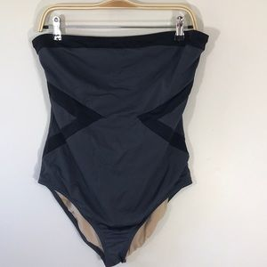 J Crew gray and black strapless swimsuit